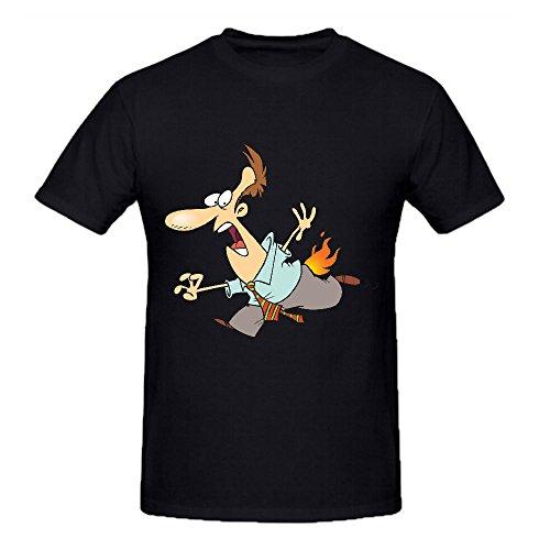 cartoon-house-on-fire-custom-t-shirts-design-round-neck-black-short-sleeve
