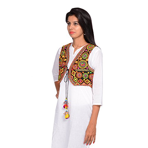 Buy Attire Womenu0026#39;s Kutch embroidered Shrug/Navratri special Gujarati koti / Short jacket on ...