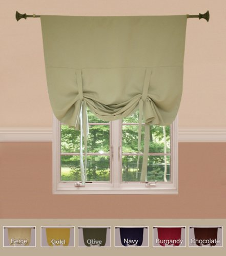 "Tie-Up Shade Solid Insulated Thermal Blackout Window Shade 63""L-BEIGE - BT - TUB"