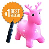 Inflatable Hopper - Rated #1 and Cutest Bouncy Seat for kids on Amazon. Ruffio the Animal Deer Comes with a Free Bonus Pump. Safer Than Childrens Hopping Bouncer Balls - Made with USA Eco-Friendly Materials. 100% Lifetime Money-back Guarantee, Pink