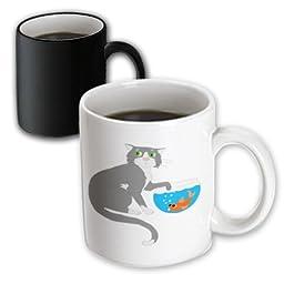 3dRose mug_44788_3 Adorable Cat with Paw in Fish Bowl Magic Transforming Mug, 11-Ounce