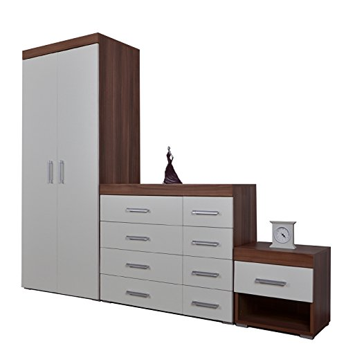 Bedroom Furniture 3 Piece Set 4 4 Chest Of Drawers Bedside Table Wardrobe White Walnut Effect