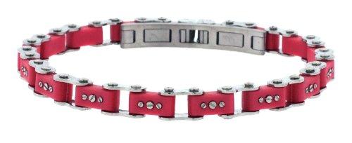 Unisex Designer Stainless Steel Red Bicycle Link Bracelet 7