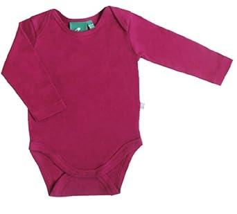 Little Green Radicals Organic Fairtrade Cotton Long Sleeve Bodysuit(Berry, 0 - 6 Months)