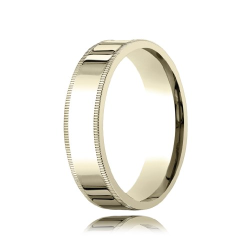 14k Yellow Gold Classic Comfort Fit with Milgrain Wedding Band - 6mm