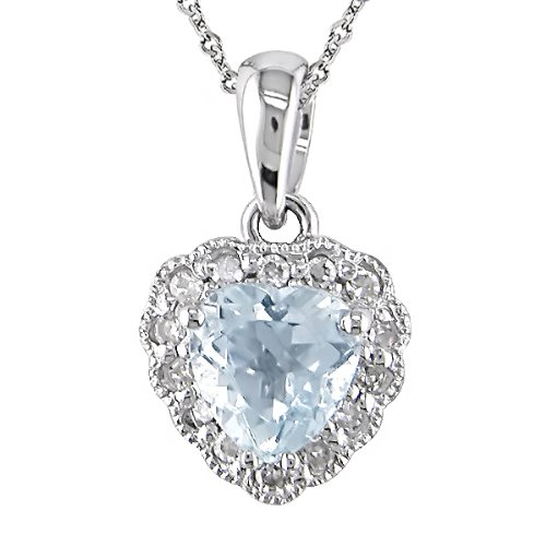 14K White Gold .07ctw Diamond and Aquamarine Heart Pendant with Chain