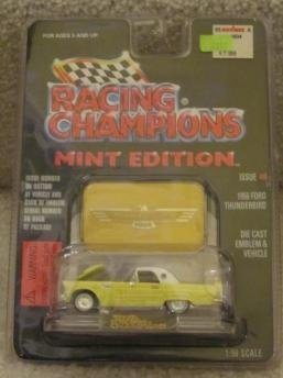 1956 YELLOW FORD THUNDERBIRD -RACING CHAMPIONS MINT CONDITION DIE CAST EMBLEM & VEHICLE WITH DISPLAY STAND - 1