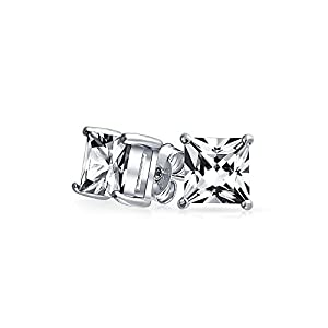 Bling Jewelry Mens CZ Princess Cut Stud Earrings 925 Sterling Silver 6mm from Bling Jewelry
