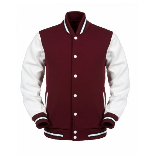 letterman jackets angel cola maroon white mens cotton varsity