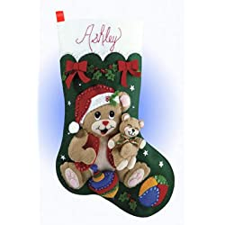 Design Works Felt Applique Christmas Stocking Playful Bears Craft Kit for Xmas