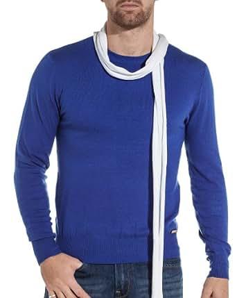 Sixth June - Pull homme bleu royal avec écharpe - couleur: Bleu - taille: XL