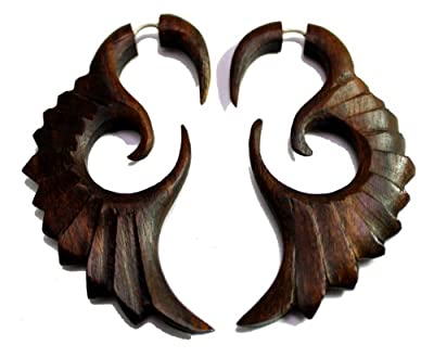A Pair of Tribal Organic Fake Gauges Tattoo Wood Faux Plugs Wooden Earrings Sew_1