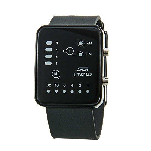 Generic Fashionable Rectangle Case Analog And Digital Electronic Waterproof Watch Black