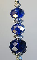 Pure Cobalt Blue Faceted Glass Ceiling Fan Pull / Light Pull Chain