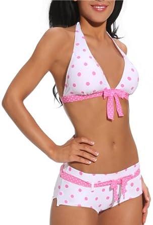 Sexy Retro Polka Dot Two Piece Hipster Bikini Swimwear, Small