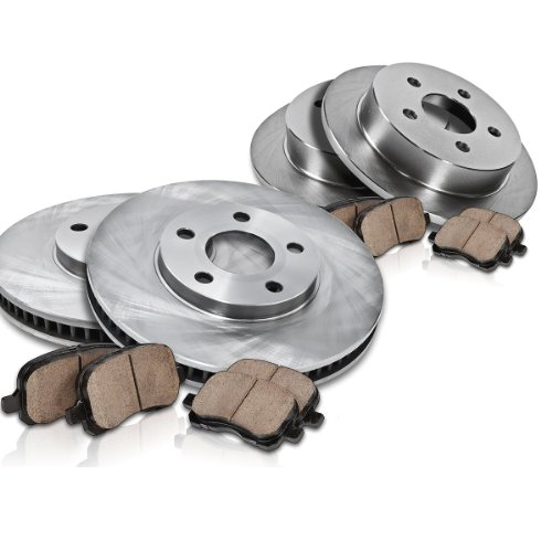 Callahan CK003377 FRONT 258 mm + REAR 261 mm Premium OE [4] Rotors + [8] Quiet Low Dust Ceramic Brake Pads Kit