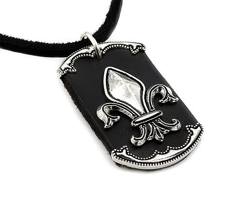 Black Leather Dog Tag With Sterling Silver Fleur-De-Lis