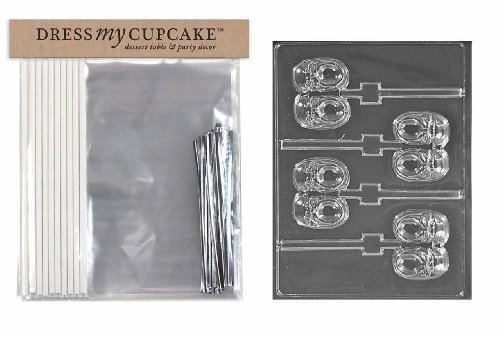 Dress My Cupcake DMCKITB063 Chocolate Candy Lollipop Packaging Kit with Mold, Baby Shower, Baby Sneaker Lollipop by Dress My Cupcake