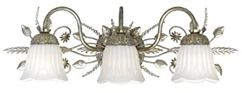 Crystorama Lighting Group 4743-SL Primrose 3 Light Bathroom Vanity Light with Swarovski Spectra Crystals, Silver Leaf