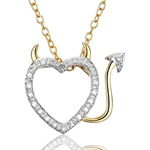 18k Gold Over Sterling Silver and Diamond Accent Devil in Disguise Heart Pendant on Chain