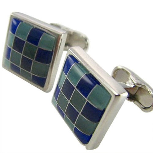 Worldfashion Blue Color Square Lattice Series Men's Cufflinks Come In a Nice Gift Box by WorldFashion