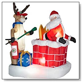 Animated Santa Chimney Fire with Fireman Reindeer