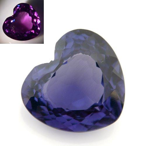 21cts Heart Cut 16*17mm Blue Purple Color Change Alexandrite Gemstone VVS Grade