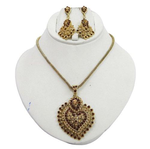 Indian Party Wear Copper CZ Pendant Earring Set Gold Tone Women Jewellery