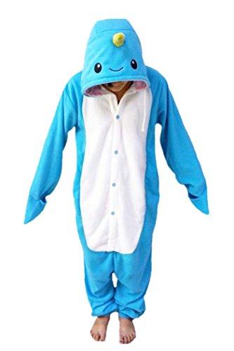 Animal Cosplay Costume Narwhal Onesies Unisex-adult Pajamas Cartoon Sleepwear Size S Sky Blue