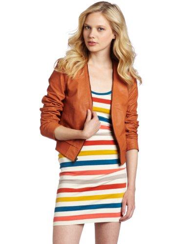 French Connection Women's Duke Leather Jacket, Orange, 6