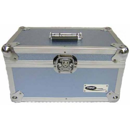 "Vinyl Record 200 LP DJ Case 7"" Aluminium Lockable Storage Case (Light Blue)"