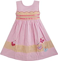 DF82 Girls Dress Plaid Pink Embroidered Butterfly Size 6