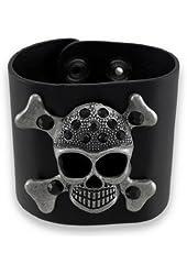 Black Bonded Leather Gunmetal Finish Skull-n-Bones Wristband Bracelet