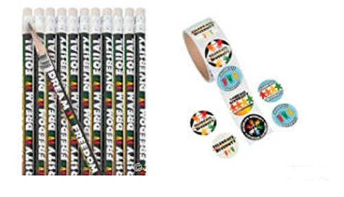 Diversity Roll Sticker (100 Count) and Pencils (24 Count) Set/Schools/Functions/Awareness - 1