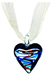Lampwork Glass Heart Pendant Necklace on White Organza 17 to 18 Inches Clear Orange and Blue