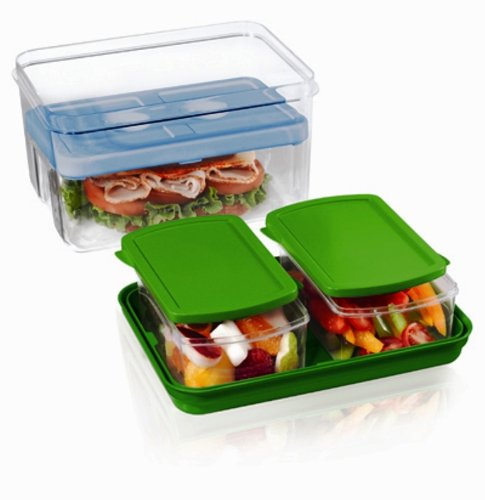 Fit & Fresh Lunch on the Go Set with Ice Pack, 3 Reusable Portion Control Containers, BPA-Free, Microwave/Dishwasher Safe Lunch Box (Bento Box With Ice Pack compare prices)