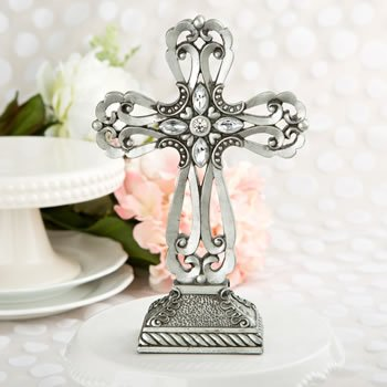 Large Pewter Cross Statue with Antique Accents. Size Is 9