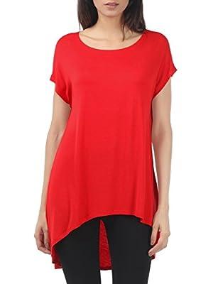 Thanth Womens Short Sleeve Loose Fit Various Hem DetailTunic Top