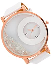 RTimes Leather Strap Analogue Womens Round Dial Watch With Moving Beads (White)
