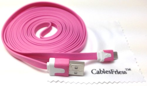 Pink 10Ft ( 10 Feet 10' ) Tangle Free Noodle Style Micro B Usb Charging / Data Sync Cable Fits Android Samsung Galaxy Htc Lg Pantech Blackberry Motorola Sony Zte