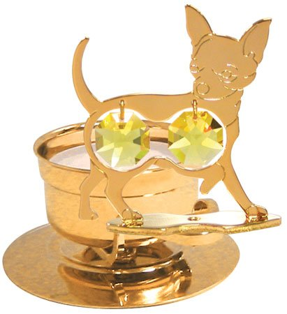 24K Gold Plated Chihuahua Tea-Light..... With Yellow Swarovski Austrian Crystal front-784734