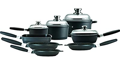 "Eurocast Professional Cookware Deluxe Set 4 Glass Lids/Removable Handles. 1.2 Qt Sauce Pan (6.25""), 3.2Qt Stock Pot (8""), 7.4Qt Stock Pot (11""), 9.5"" Saute Pan, 9.5"" Grill Pan, 9.5"", 8"", 11"" Fry Pan"