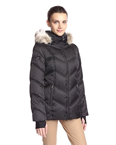 Nautica Women's Chevron Quilted Puffer with Faux Fur Trimmed Hood