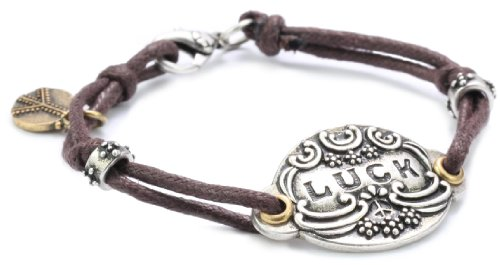 Lucky Brand Silver-Tone Brown Leather Bracelet