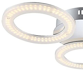 Runde Stoff Leuchte Silber mit 3 Philips LED Vintage Lampen 4W Wohn Zimmer Ø40cm