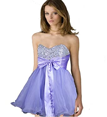 Faironly Zxm3 Mini Cocktail Prom Ball Formal Dress (XS, Lavender)