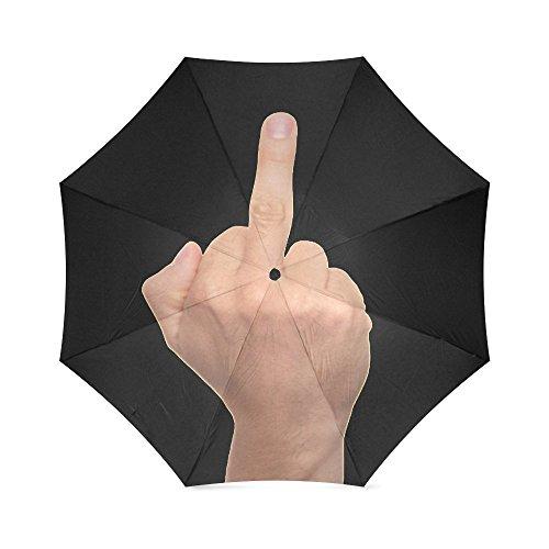 Design Funny Middle Finger Custom Folding Sun/Rain Umbrella, Windproof Rainproof Foldable Travel Umbrella UV ,100% Polyester Pongee Waterproof Fabric and Aluminium High-quality Umbrella Protected
