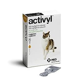 ACTIVYL Cat 100 mg Spot On Flea Treatment Solution Small Cats <8lbs 4 Pipettes