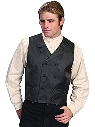 Steampunk Vests for Men | Men's Steampunk Clothing Paisley Print Double Breasted Vest Big And  AT vintagedancer.com