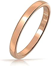 Bling Jewelry Unisex Anillo Tungsteno Chapado en Oro Rose Anillo de Boda 2mm